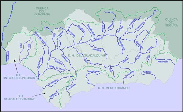 mapa de los ríos andaluces
